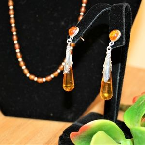 Amber and silver earrings with necklace set